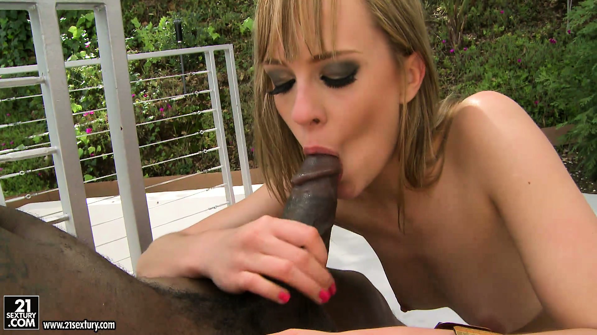 Porno Video of Little Blonde Broad Takes A Ride On A Big Black Cock Outdoors
