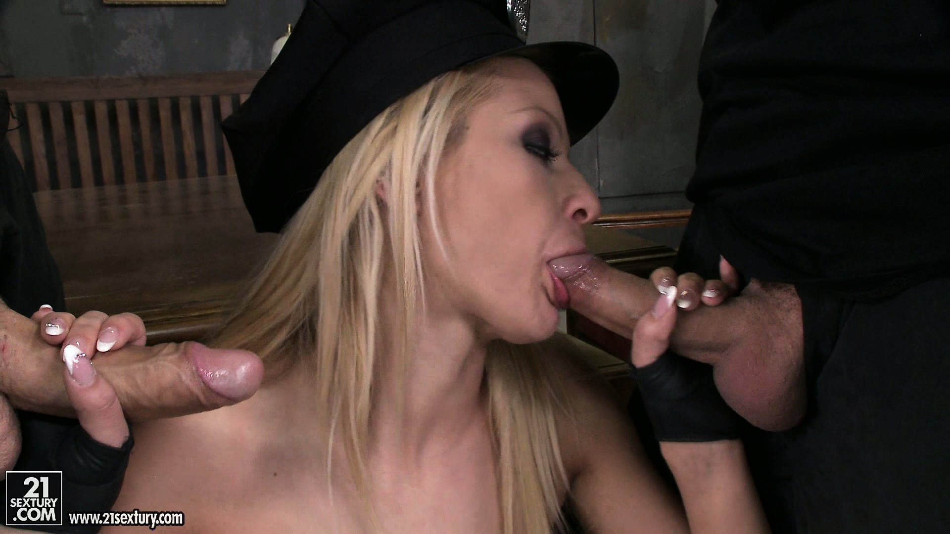 Porno Video of Naughty Blonde Cop Handles The Sticks Of Her Horny Coworkers With Ease
