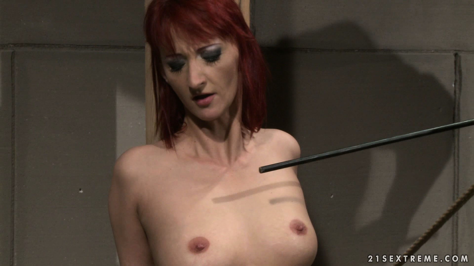 Porn Tube of Personal Redhead Slave Gets Tied Up And Tortured, Then Sucks His Cock