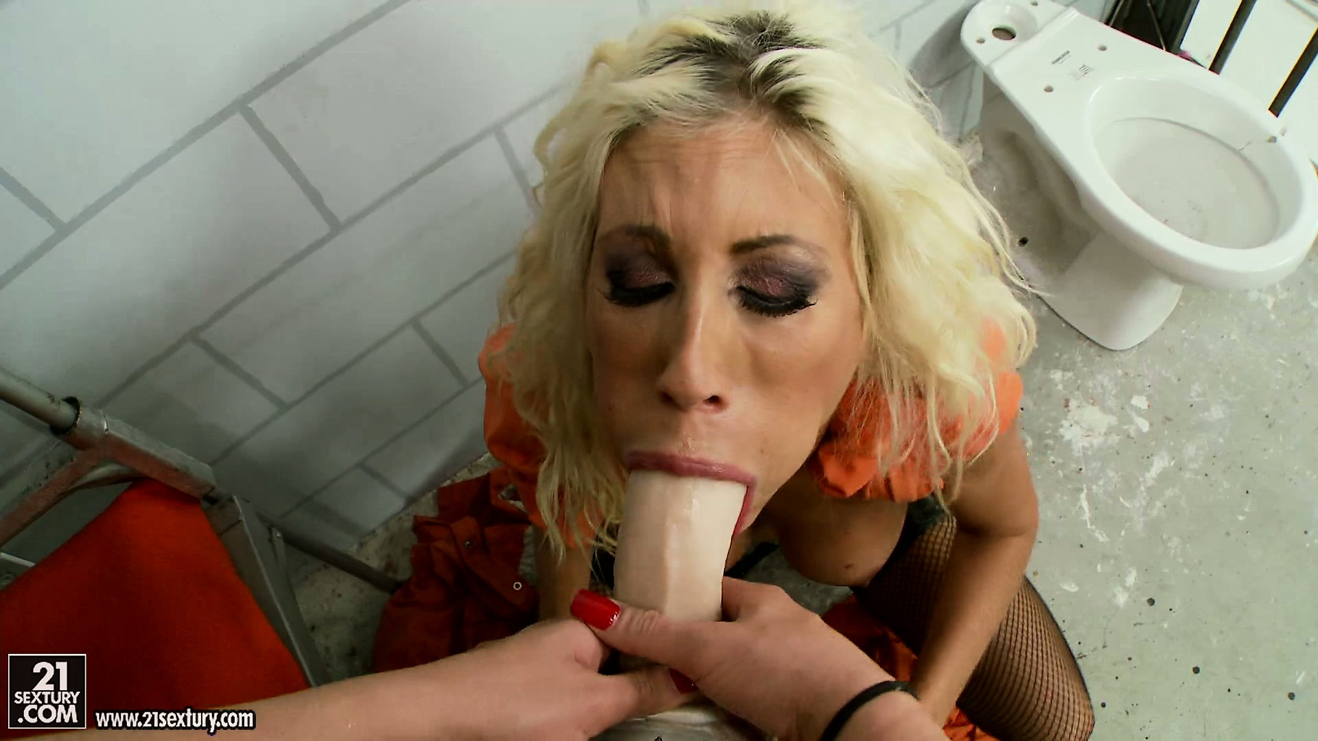 Porn Tube of Busty Blonde Babe Shares A Strap-on With Her Sexy Prison Cell Mate