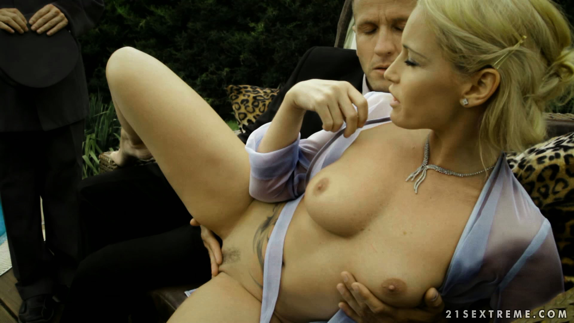 Porno Video of Then They're Joined By The Godfather And He Pumps Her Trimmed Cootch