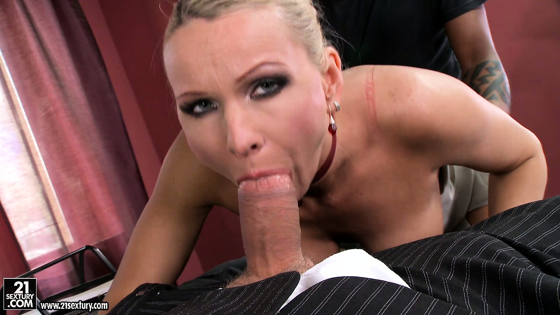 Porn Tube of Stacked Blonde Has Two Dicks Ready To Fulfill Her Fantasies In The Office