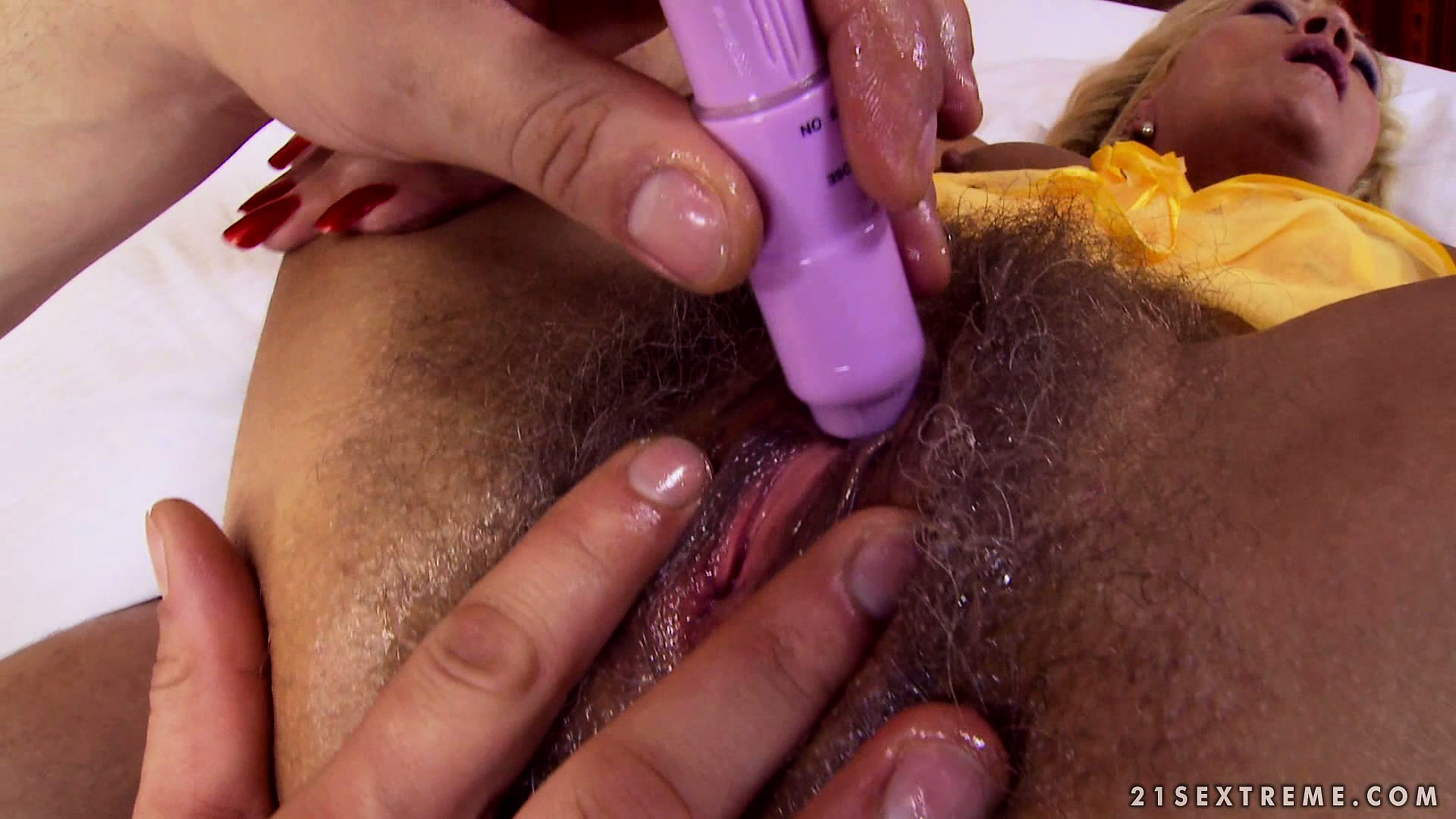Porno Video of Shaved Casanova Concentrates All His Attention On That Old, Hairy Cunt