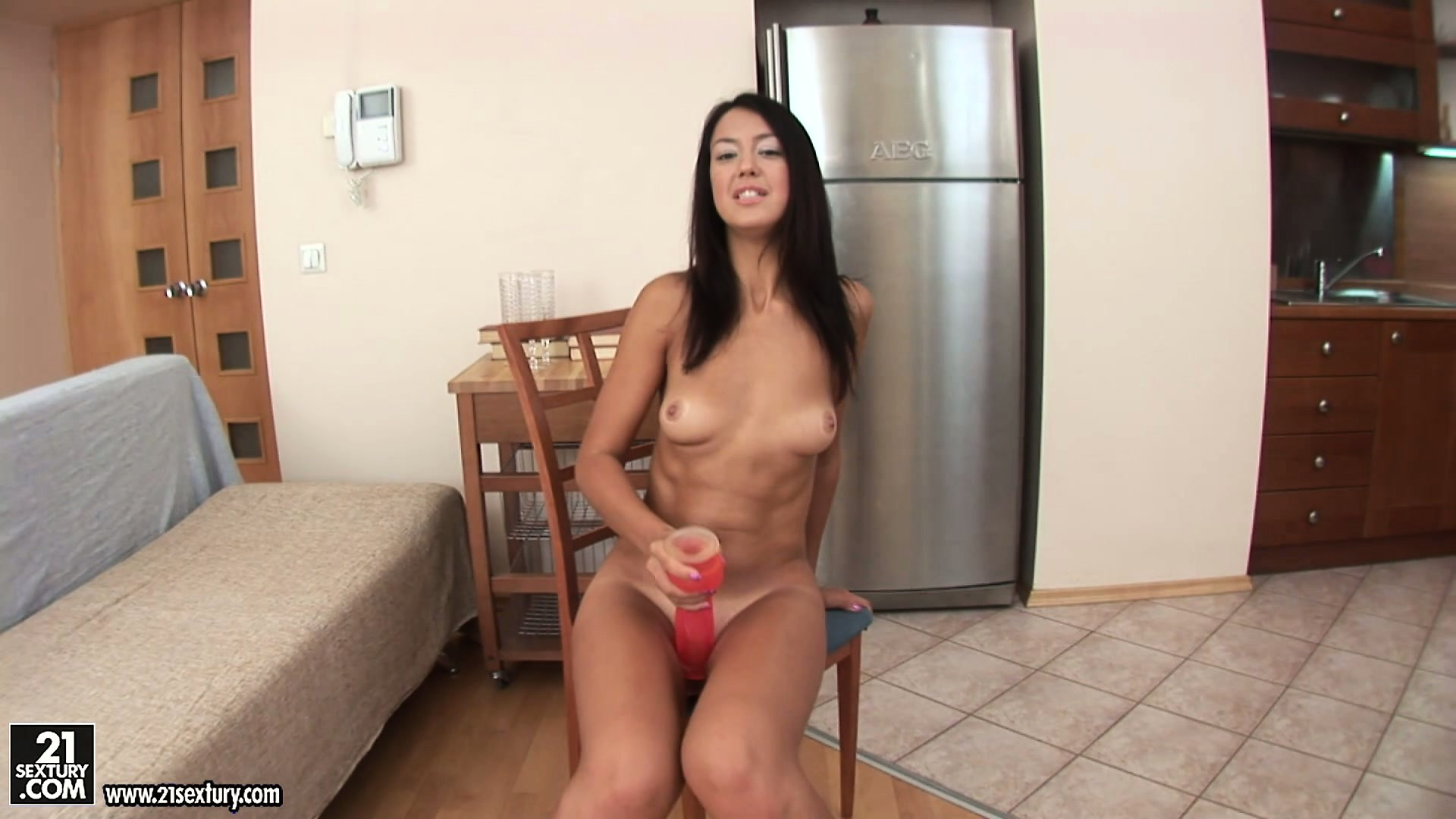 Porno Video of Horny Brunette Cutie With A Tiny Frame Gets Freaky On A Chair