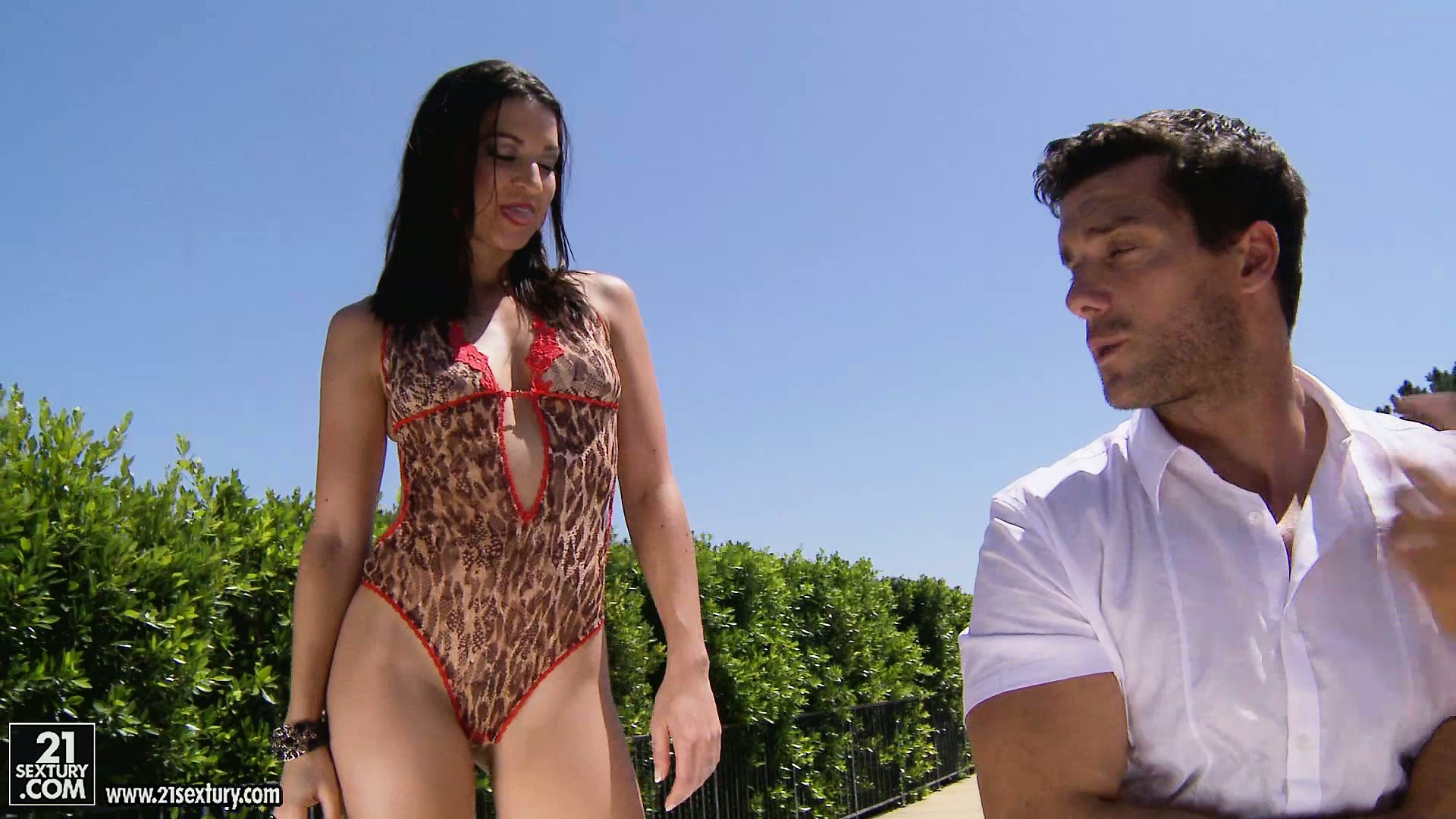 Porn Tube of Brunette Babe In A Leopard Print Bathing Suit Chokes On A Big Dick