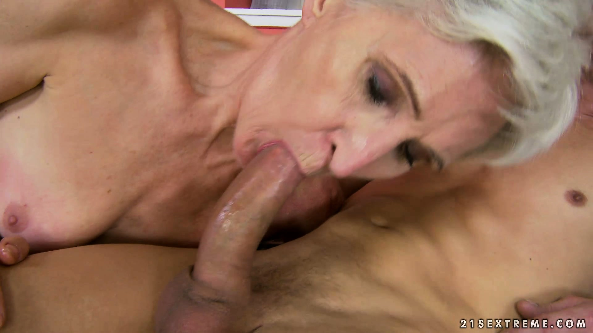 Porno Video of Granny Gobbles Up His Rod And Then Gets Drilled Hard With A Cumshot