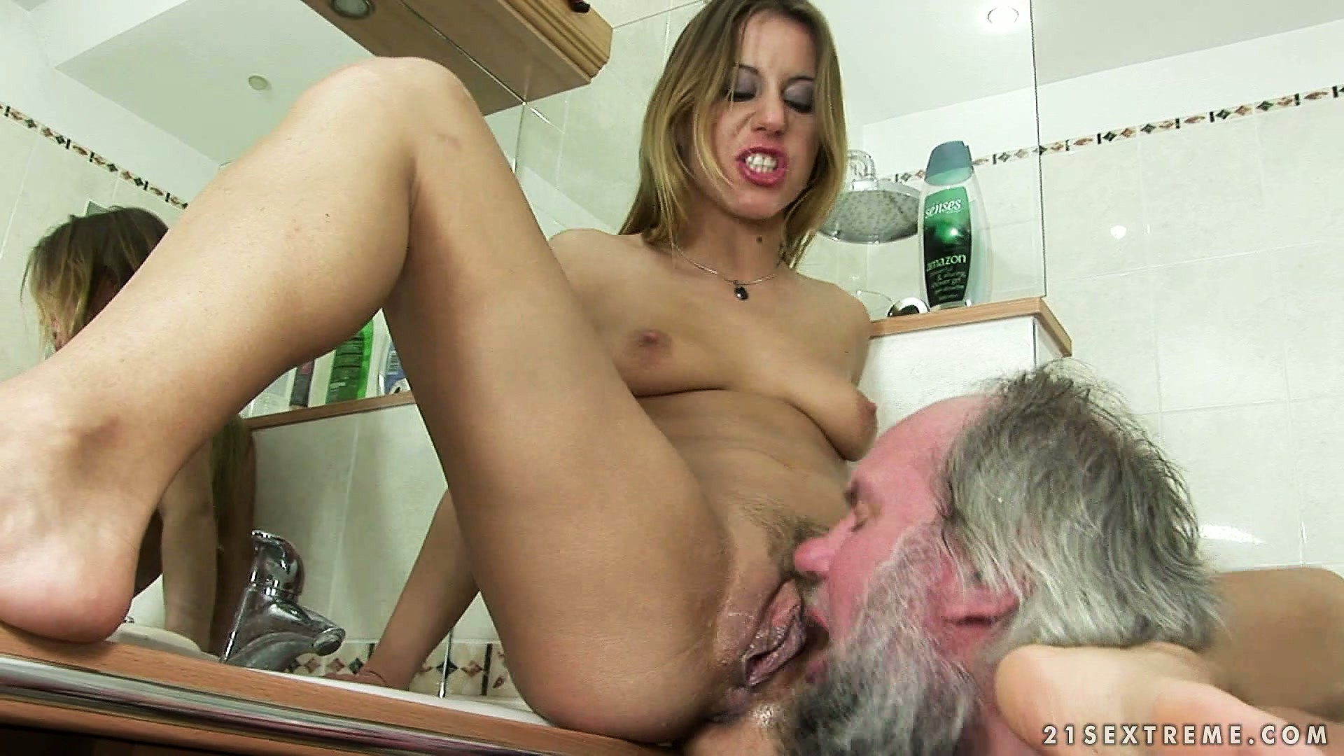Porn Tube of Sitting On The Toilet Sink, The Blonde Has Him Drilling Her Peach Hard And Deep