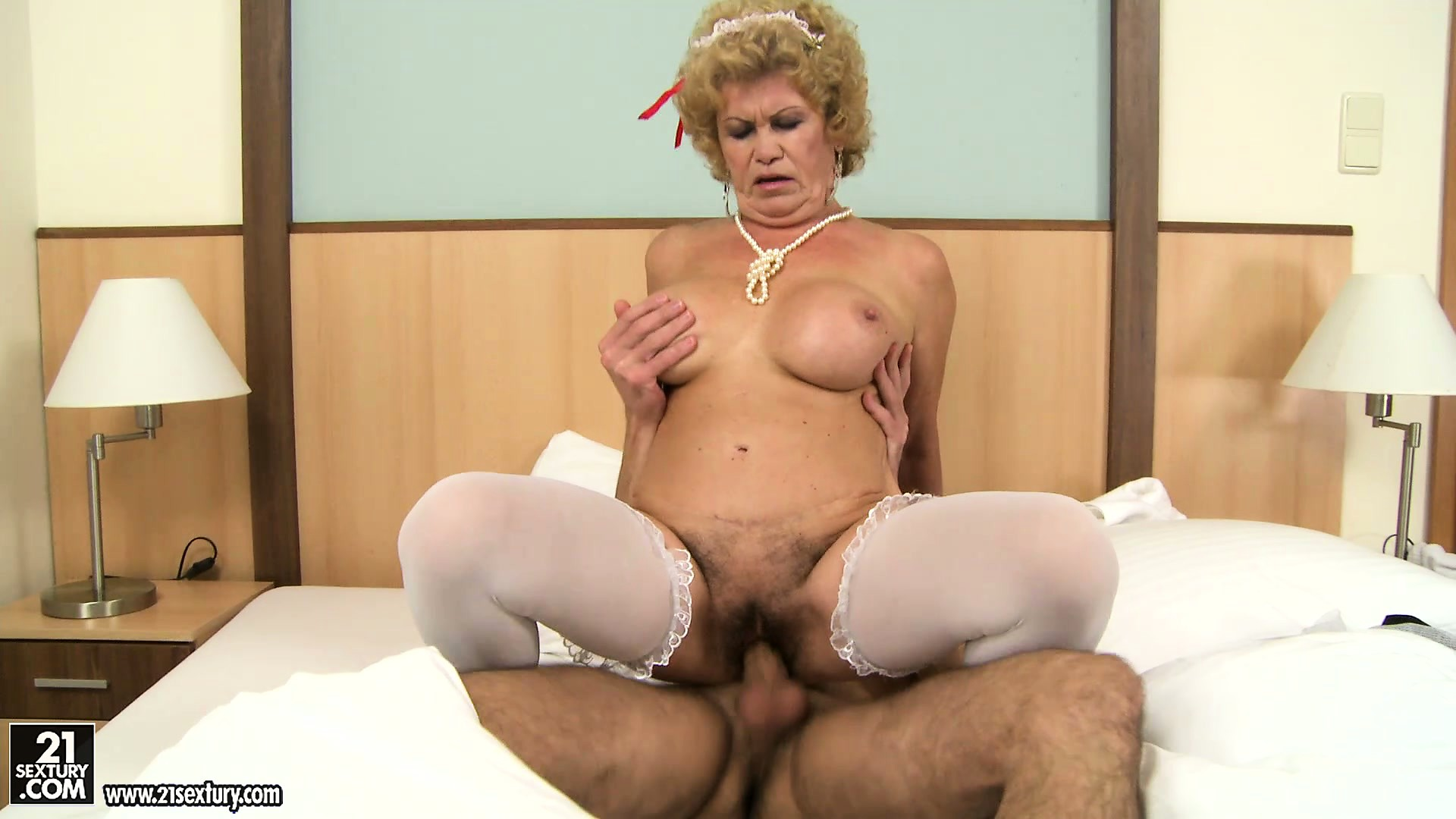 Porno Video of The Hairy Goddess Is A Naughty Blonde Granny With A Mountain Of Fur On Her Twat
