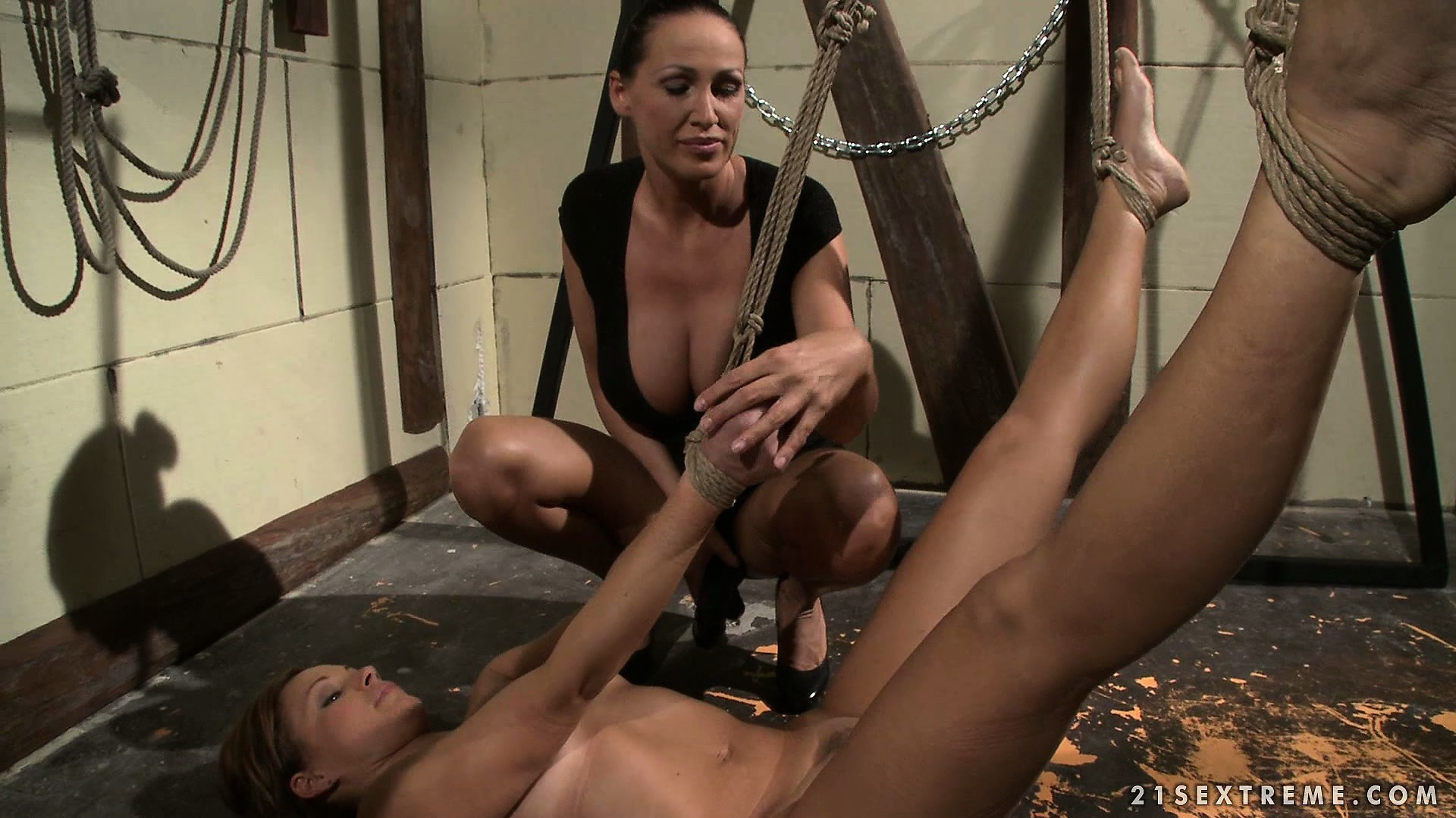 Porno Video of Brunette Slave Is Roped And Wrangled In The Dungeon By Her Mistress