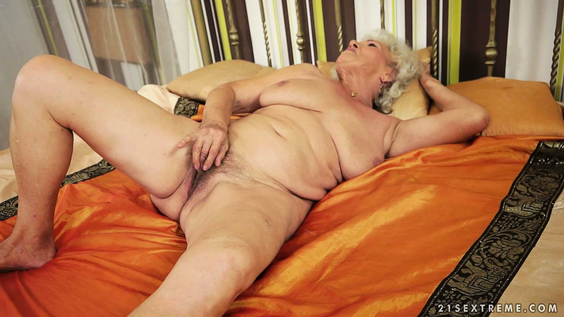 Porn Tube of Chubby Old Granny, With White Hair, Lets Her Fingers Do The Walking In Her Furry Muff