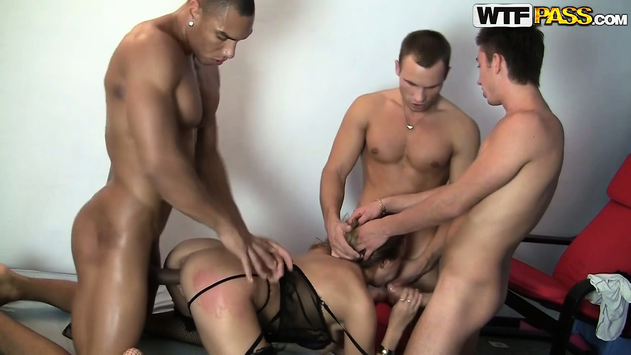 Sex Movie of Brunette Skank In Black Lingerie Gets Gangbanged By Three Dudes