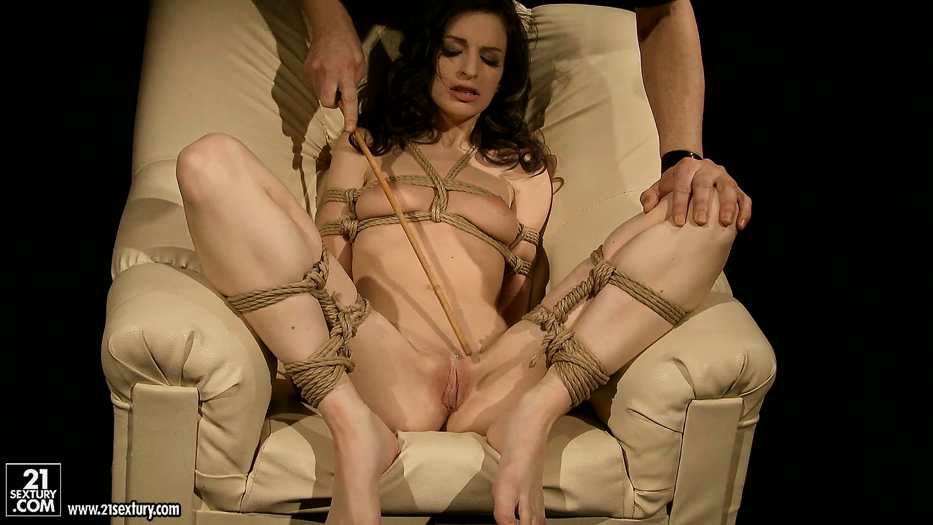 Porno Video of Brunette Gets Bound In An Intricate Set Of Ropes By Her Master