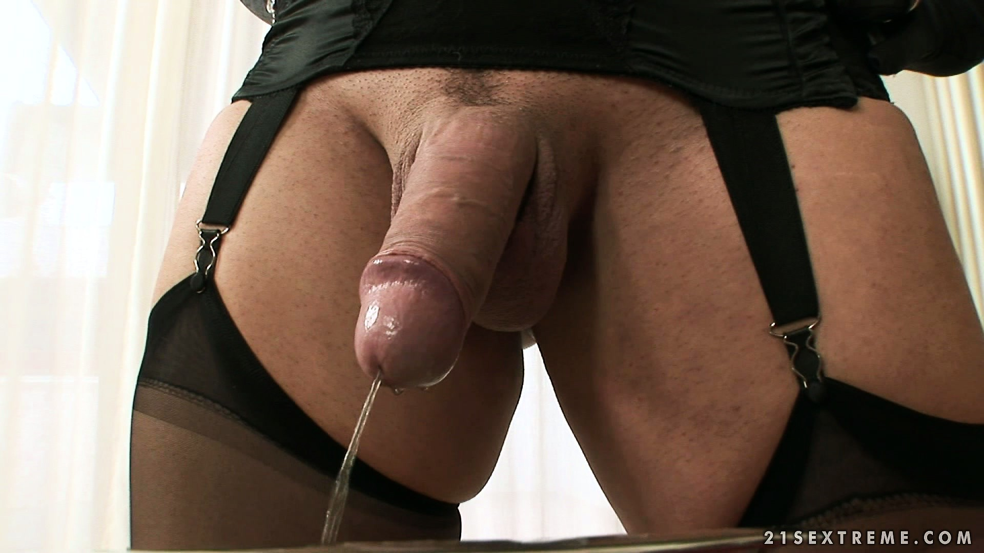 Porn Tube of Tranny Dominatrix Is Drilling His Hairy Ass, Gives A Mouthful And She Pees