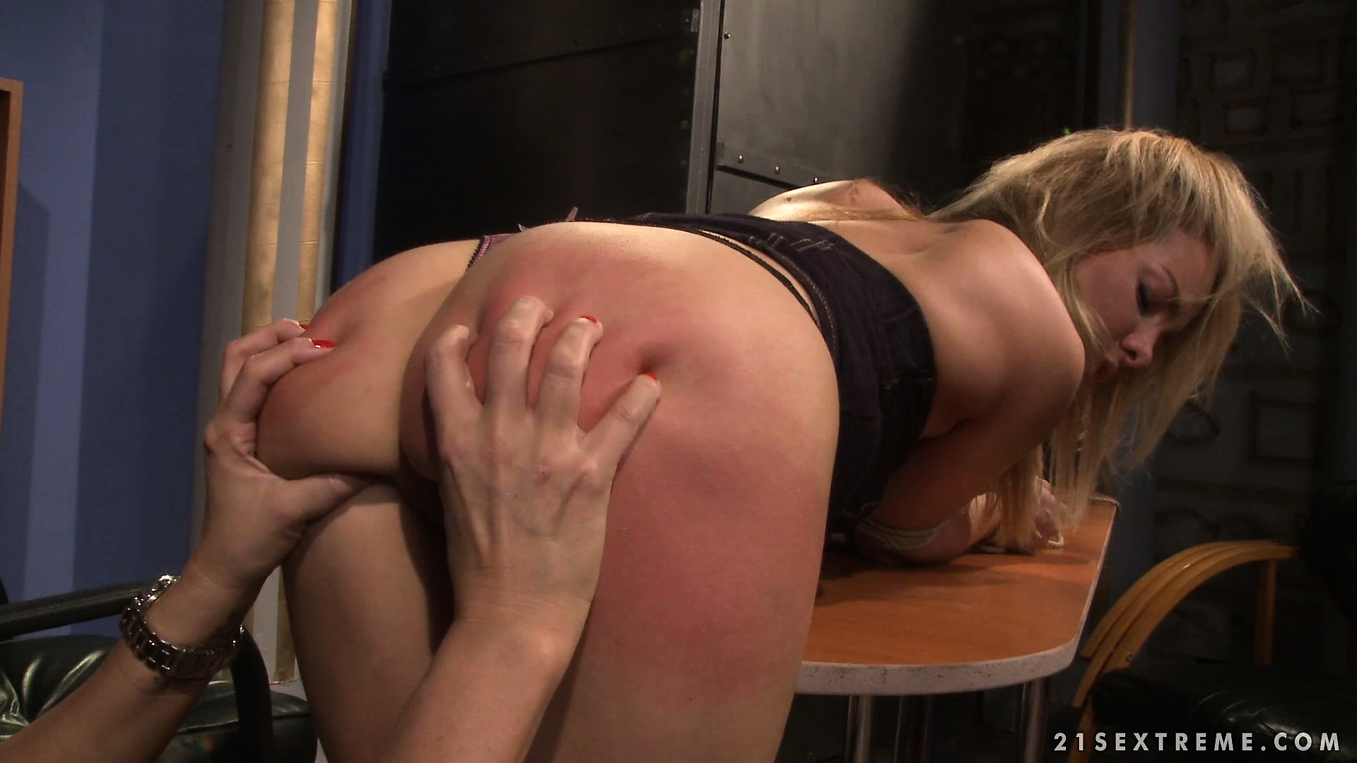 Porn Tube of She's Bent Over The Table And Gets Her Ass Fondled And Spanked
