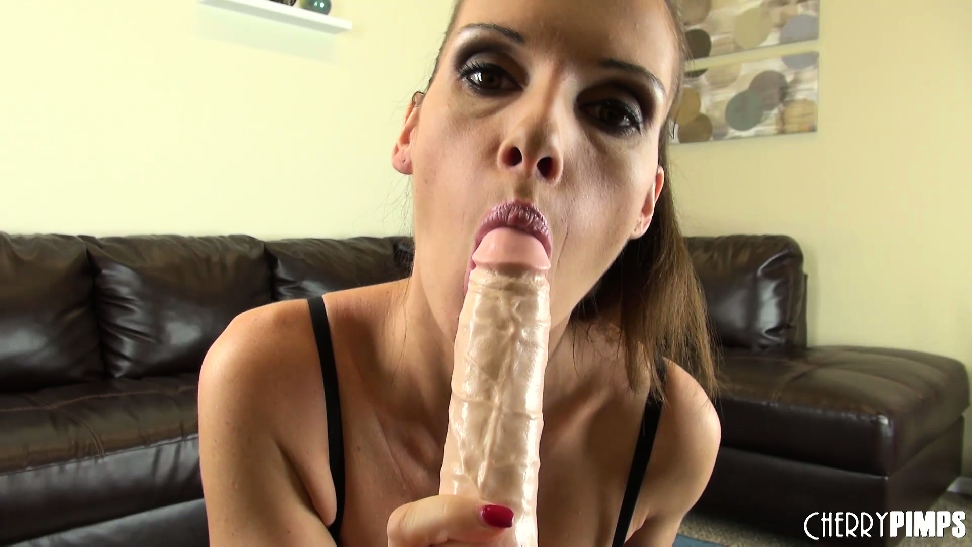 Porn Tube of Jennifer Dark Licks Her Delicious Nips And Slides A Dildo Between Her Tits