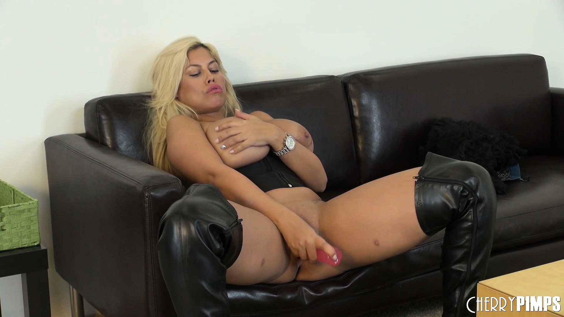 Porno Video of Really Busty Blonde Bridgette Toys Her Snatch And Licks The Juices