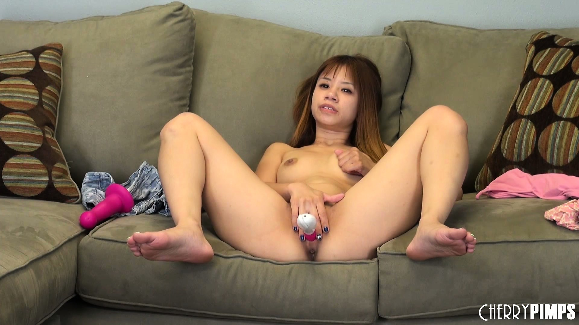 Porno Video of Spreading Her Legs Wide Open, Asia Has That Dildo Invading Her Snatch Nice And Deep