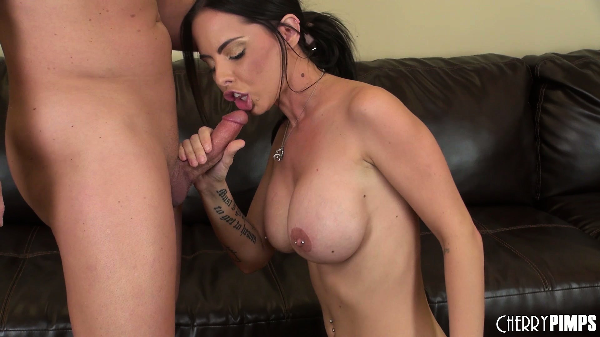 Porno Video of Brandy Aniston Rubs The Tip Of Her Man's Cock All Over Her Nipples