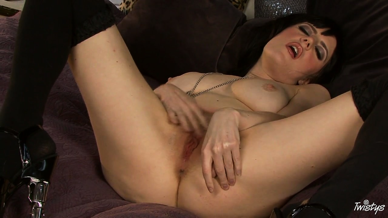 Porno Video of Pale Brunette In Dark Stockings Rubs Her Delightful Pink Pussy