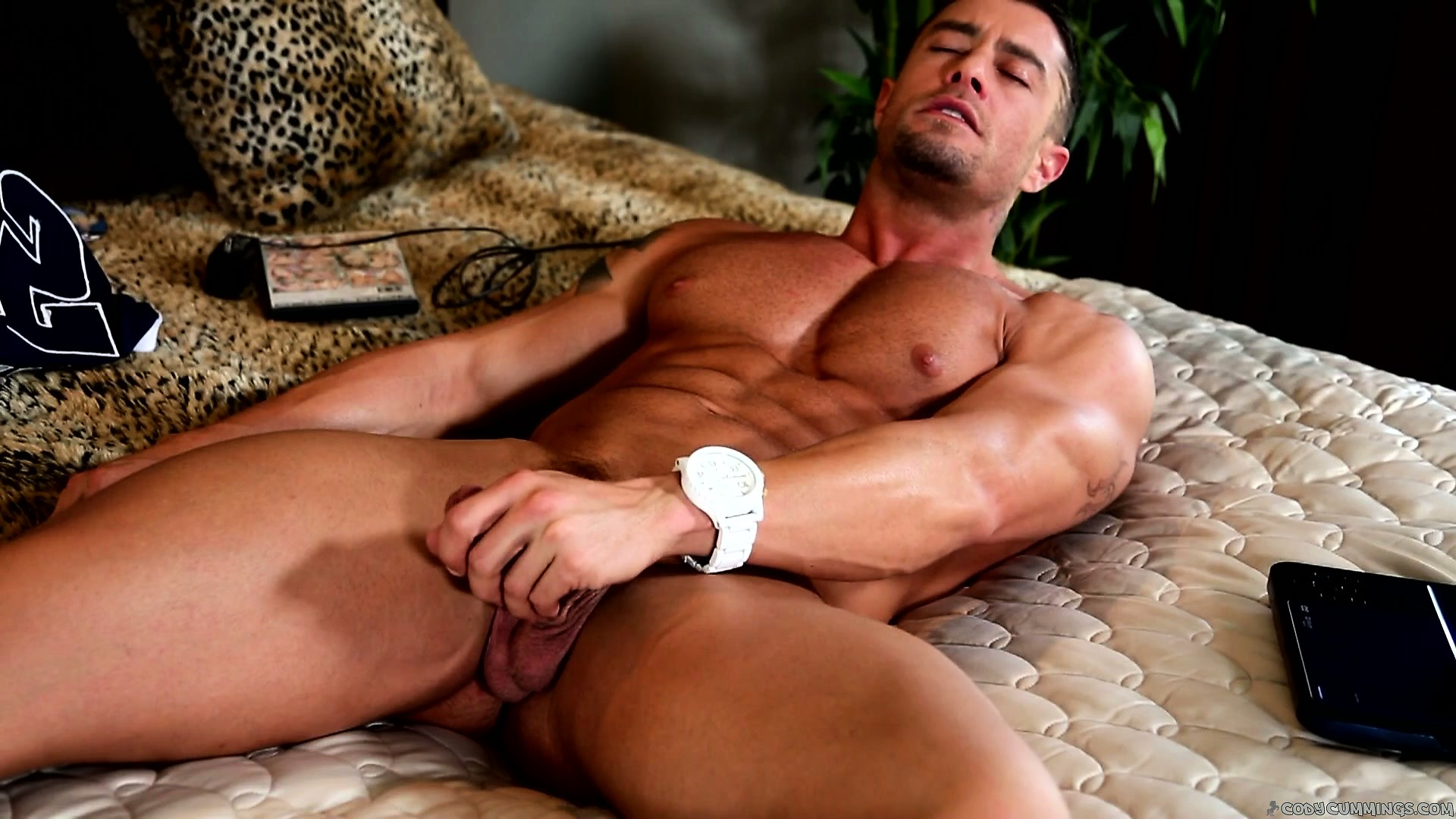 Porno Video of He Lays Back Slowly Stroking His Cock, Making It Harder And Harder