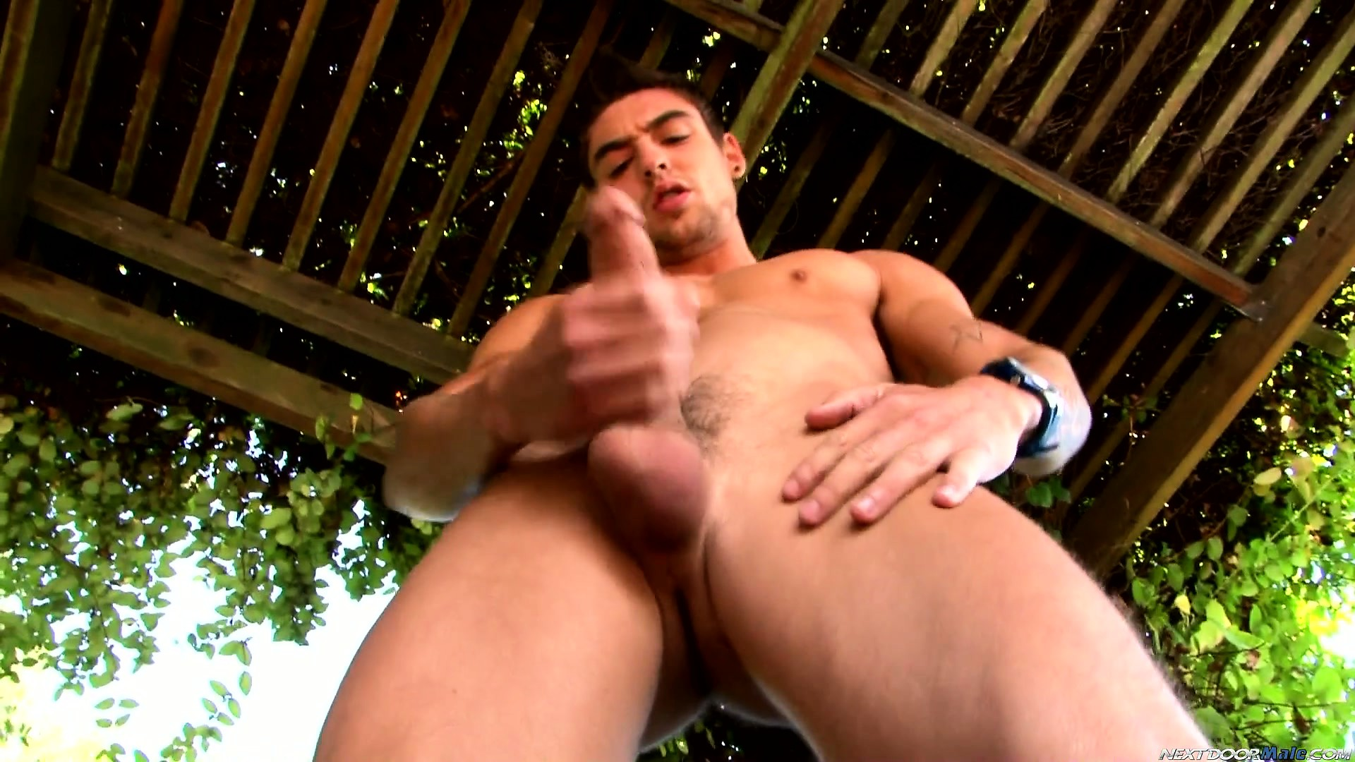 Porn Tube of Johnny Torque Bends Over To Jerk Then Stands Up Straight To Pump It