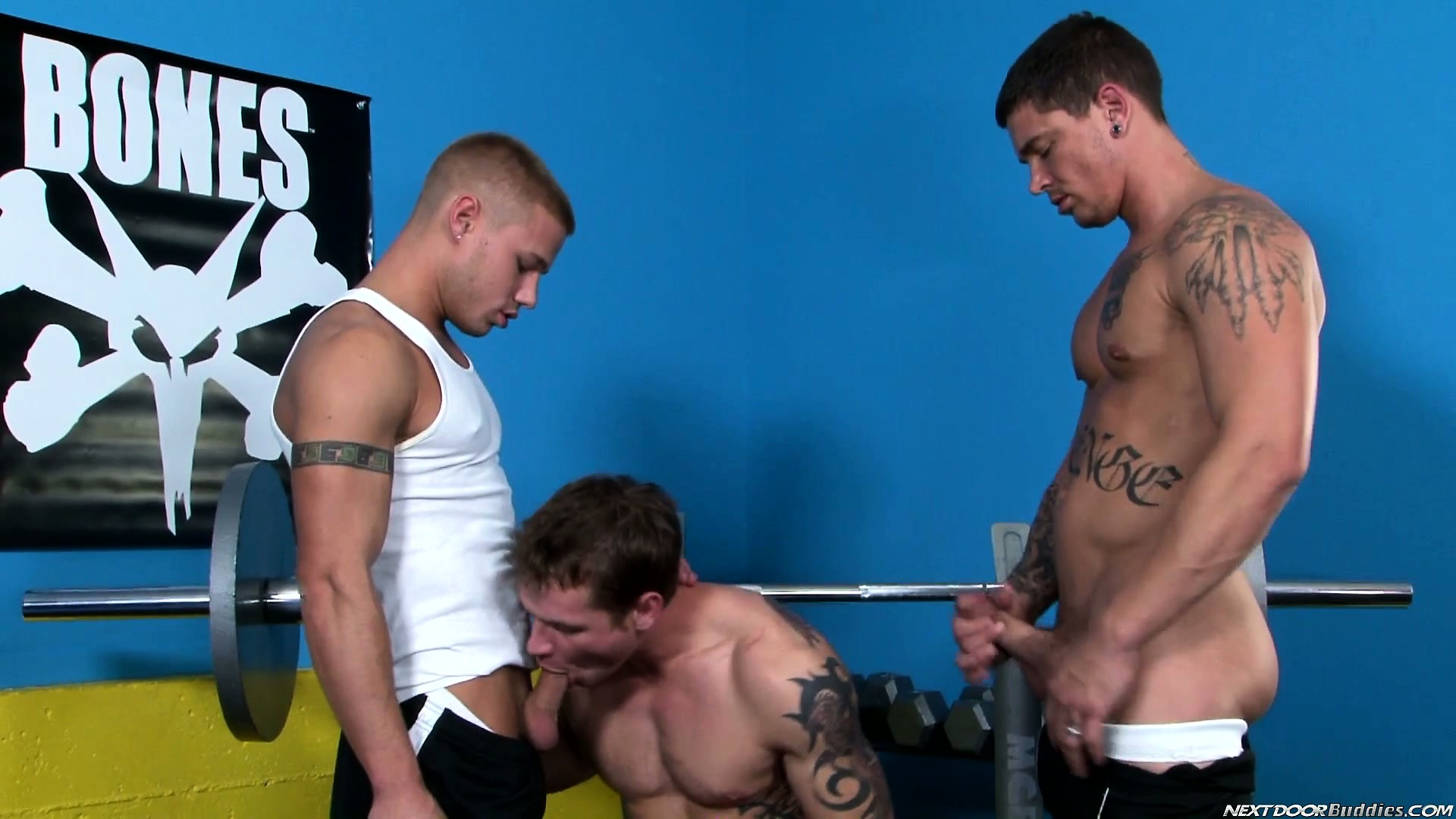 Porn Tube of Working Out At The Gym Makes This Trio Of Buff Boys Horny, So Out Come The Cocks