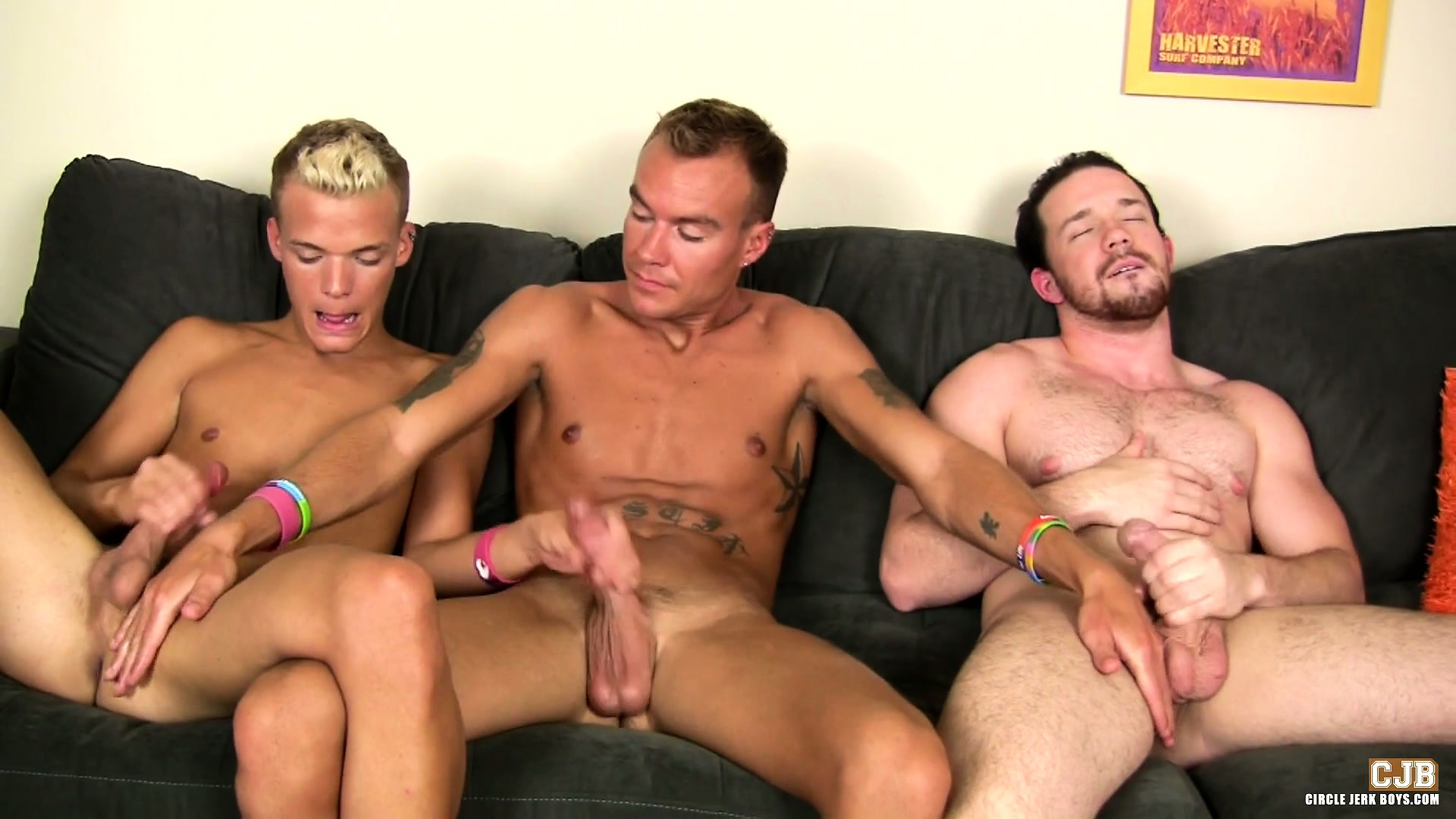 Porn Tube of Three Horny Boys Share Masturbation Techniques Sitting On The Couch