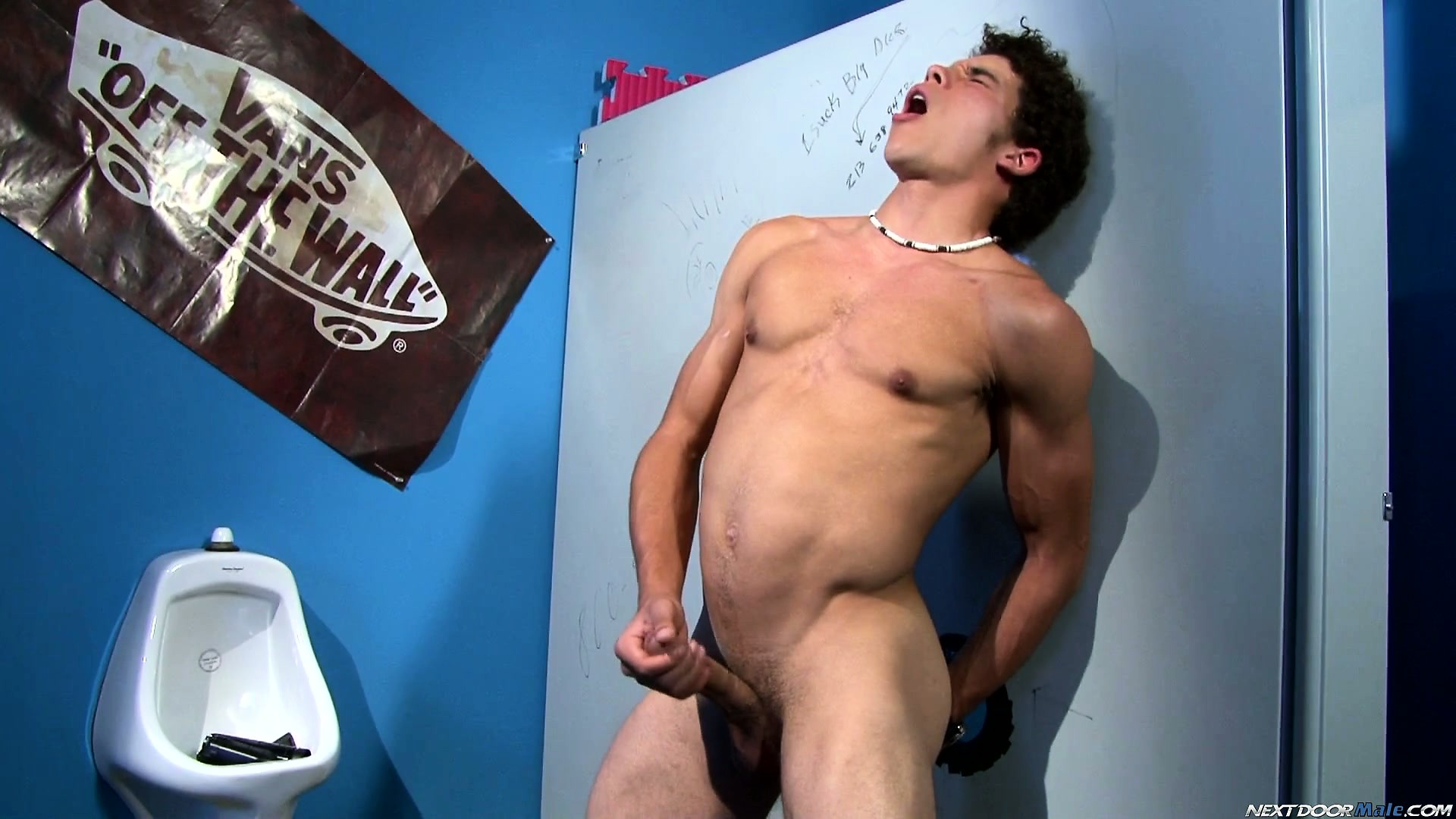 Porno Video of Austin Merrick Fingers His Ass And Beats His Meat In The Bathroom