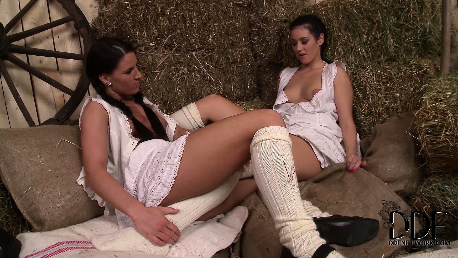 Porn Tube of Two Lesbian Farm Girls Meet In The Barn For Some Playful Foot Work