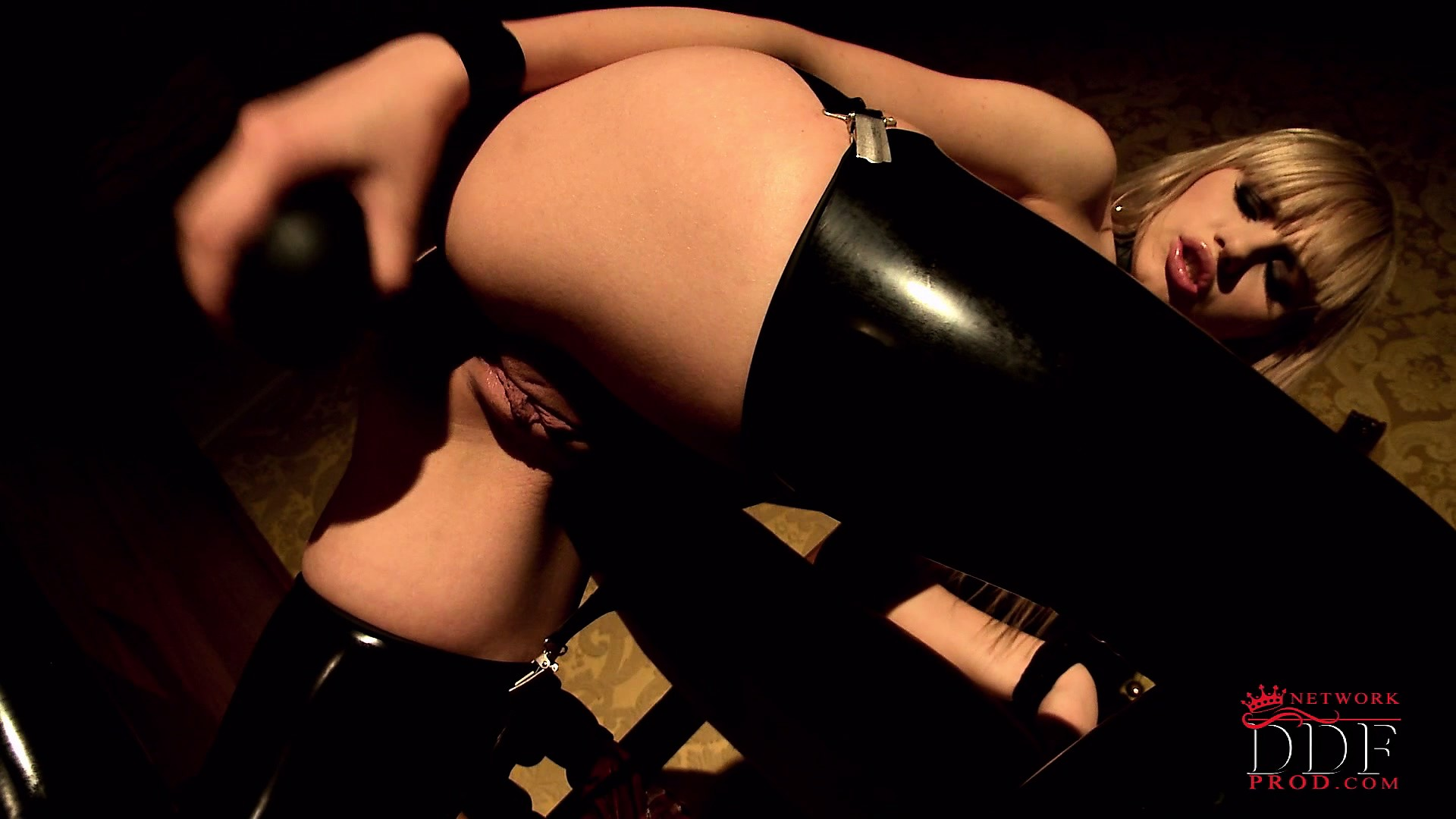 Porn Tube of Kinky Blonde Teen In Thigh High Latex Boots Fucks Her Tight Ass