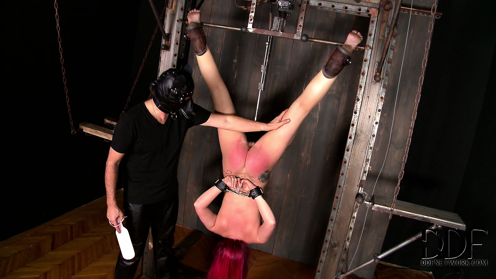 Porn Tube of The Fact That This Pain Slut Is Hanging Upside Down Won't Save Her From Kinky Pussy Play