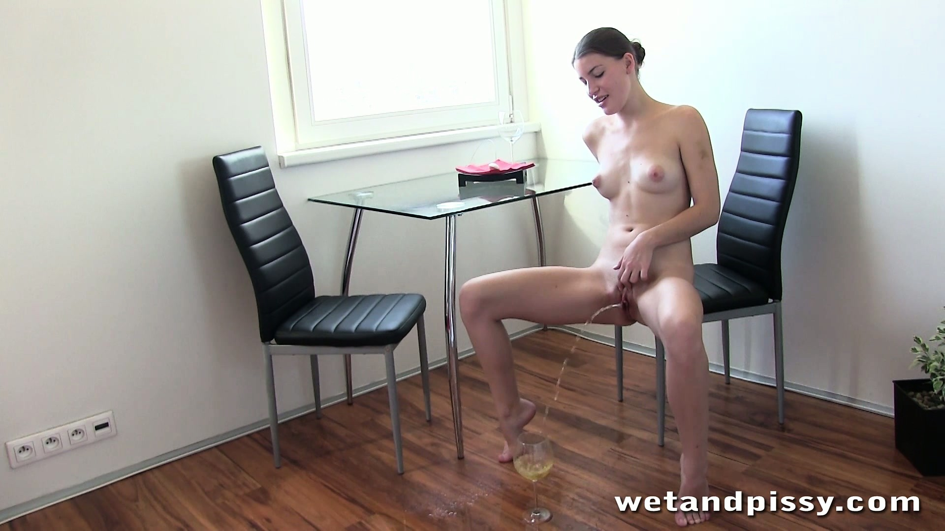 Porn Tube of Skinny Brunette Xenia Takes A Shower And Sits In A Chair To Pee Again