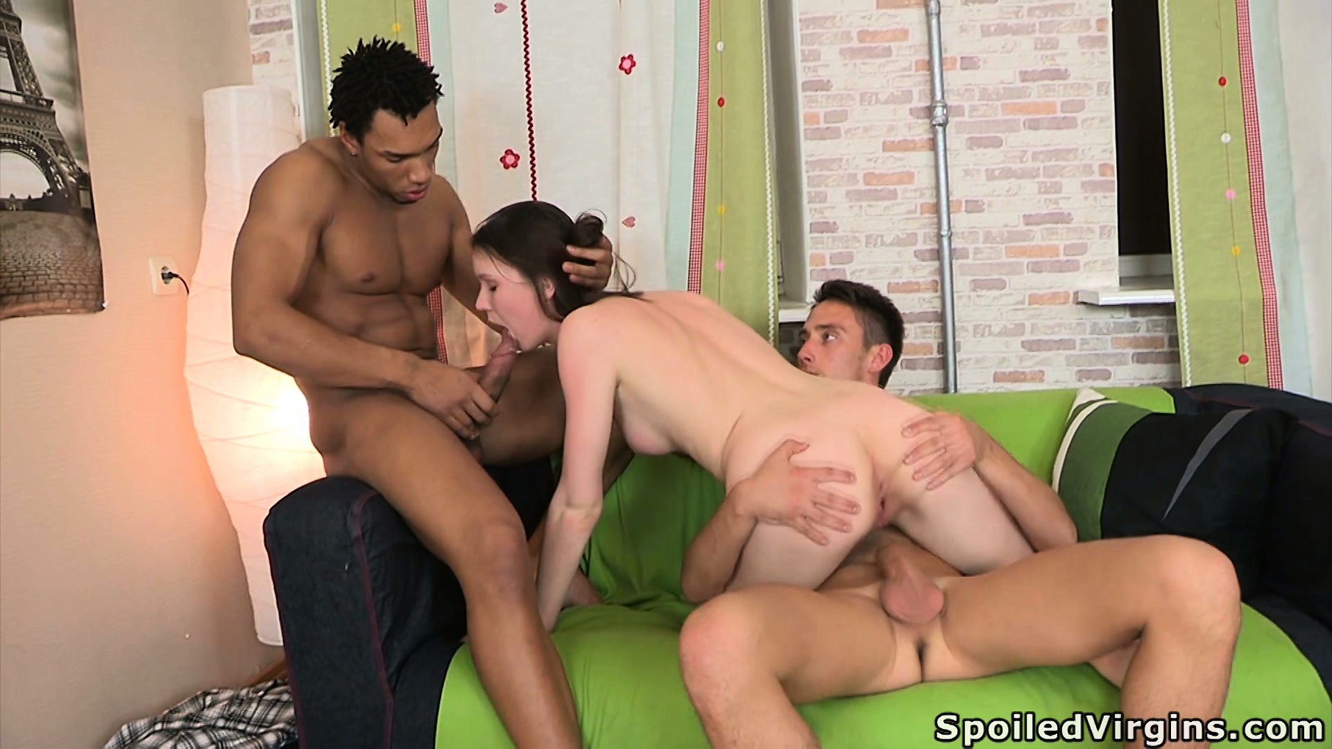 Porn Tube of She Rides His Big Black Cock And Sucks On The Other Dude, Then They Switch