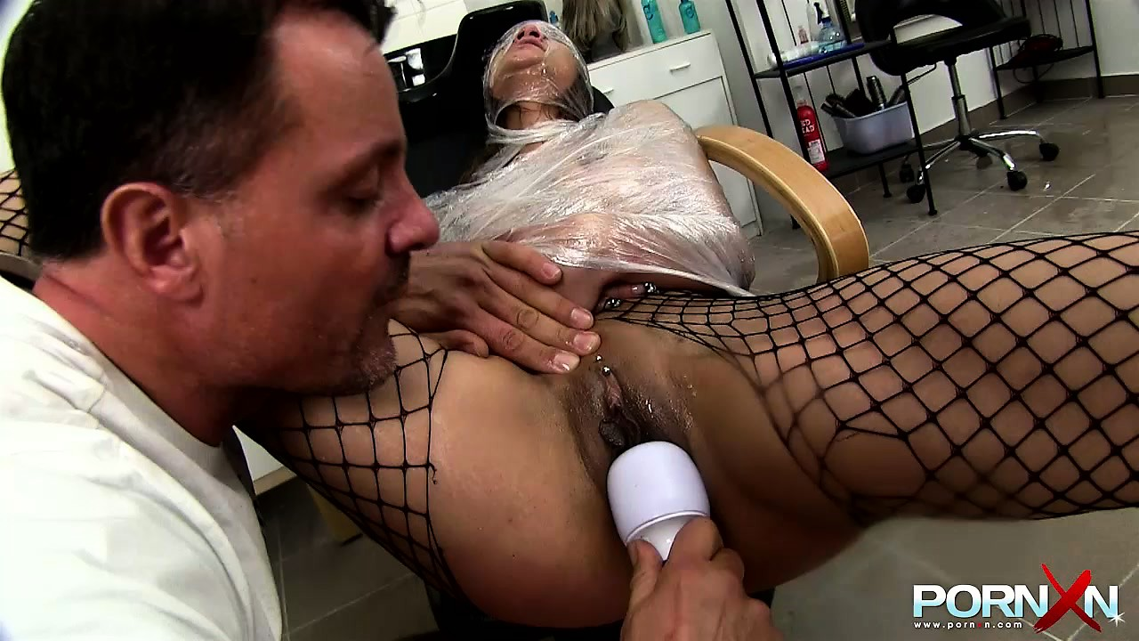 Porn Tube of Female Sex Slave In Fishnets Is Spanked Hard And Covered With Semen