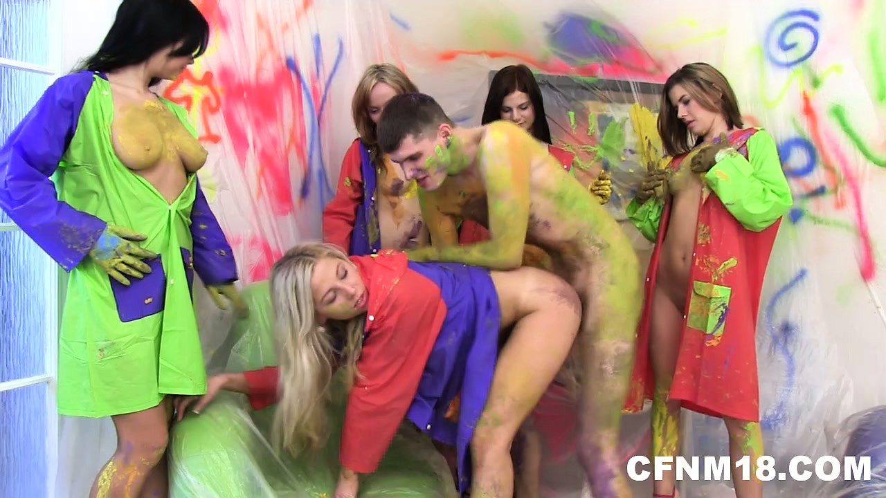 Porn Tube of Painting His Prick Is Just The Beginning Of The Cfnm Fun As They Get Fucked Too