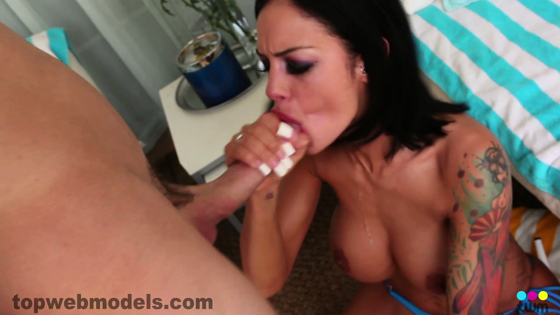 Porno Video of Angelina Valentine Strokes His Big Cock And Gets Him Ready To Shoot