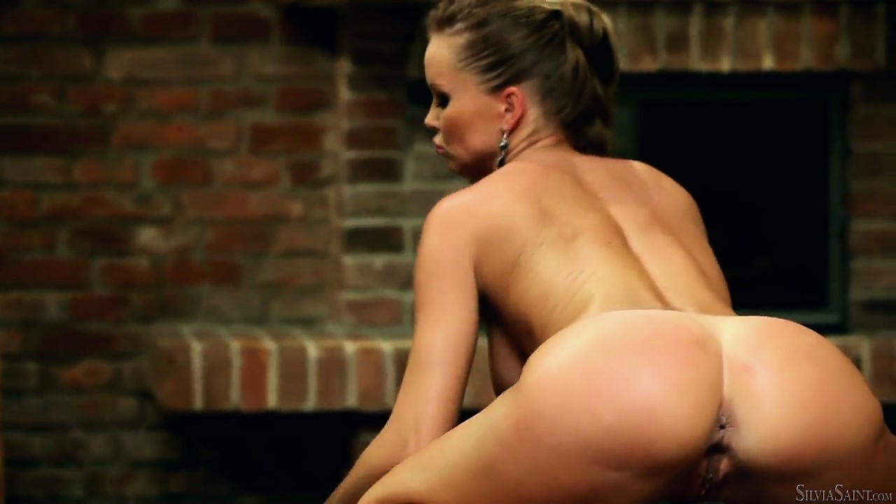 Sex Movie of Silvia Touches Her Sensual Body With Great Care By The Fireplace