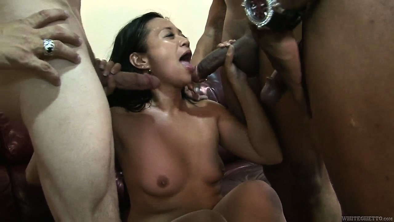 Porno Video of White Cock And Big Black Cocks Invade Mom's Hairy Asian Pussy