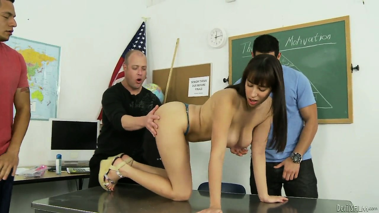Porno Video of Plump Brunette Chick Gets Gangbanged By Her College Professors