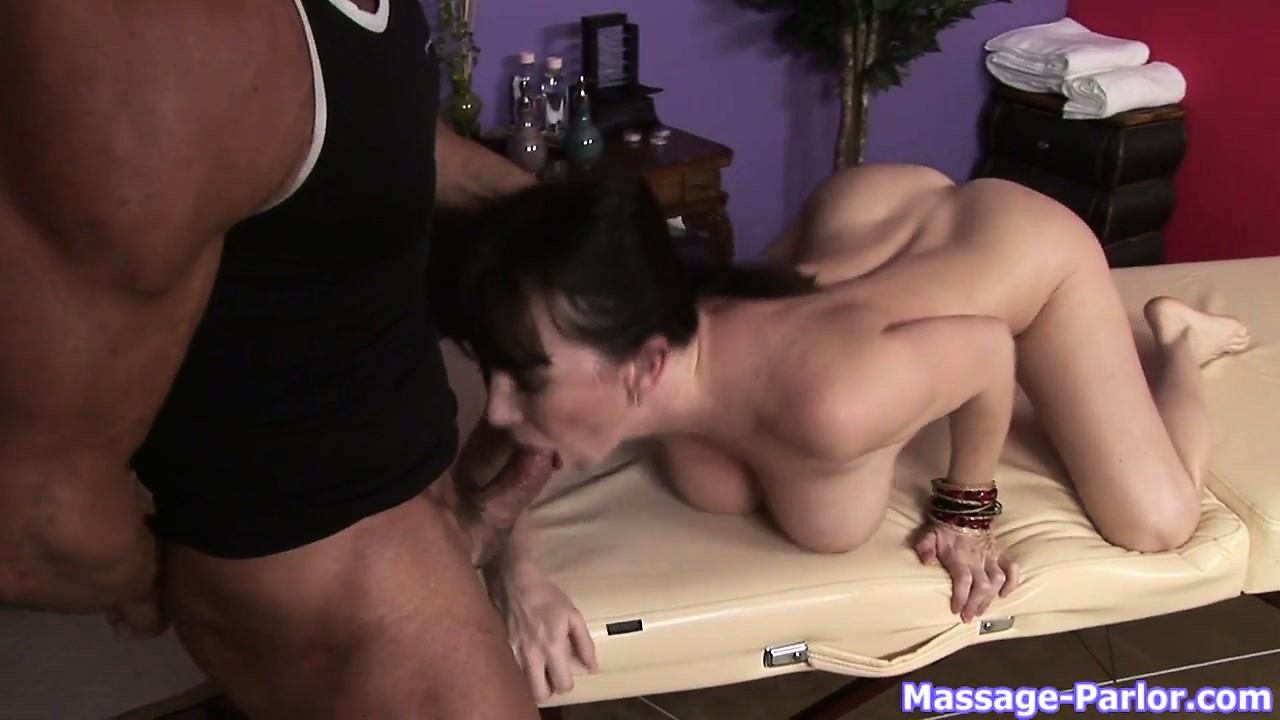 Sex Movie of Milf Brunette Slut Sucking Cock And Doing A Titjob In A Massage Parlor