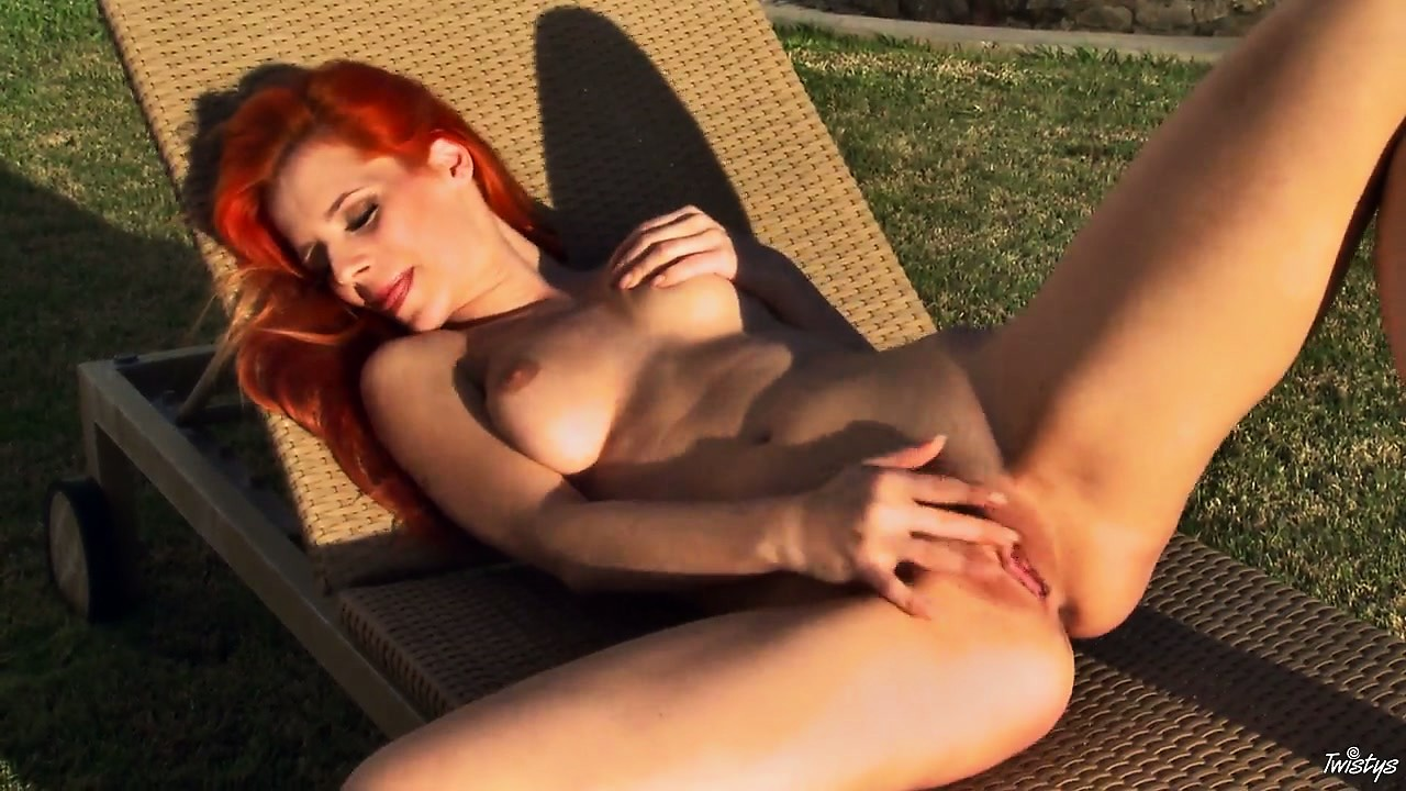 Porn Tube of Redheaded Hottie Bares Her Nice Natural Tits And Ass Outdoors