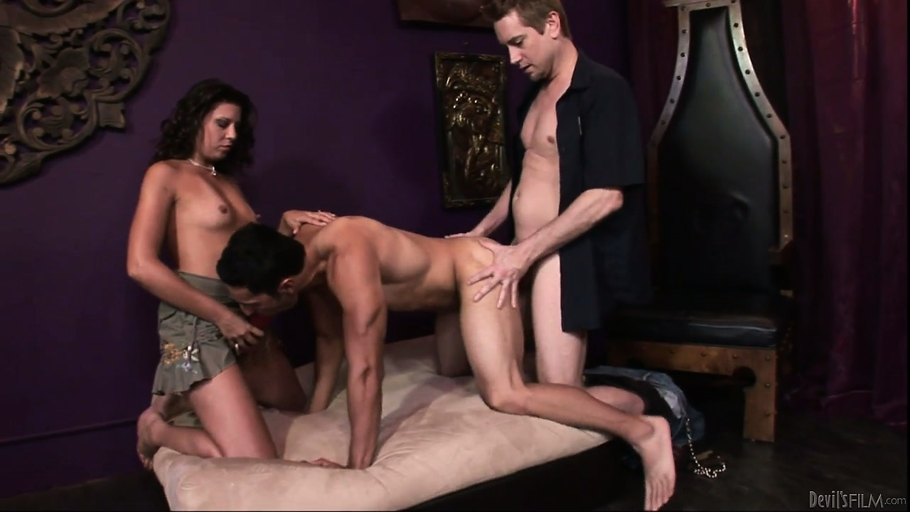 Porno Video of Threesome With Bisexual Men Sharing Each Other And Horny Brunette