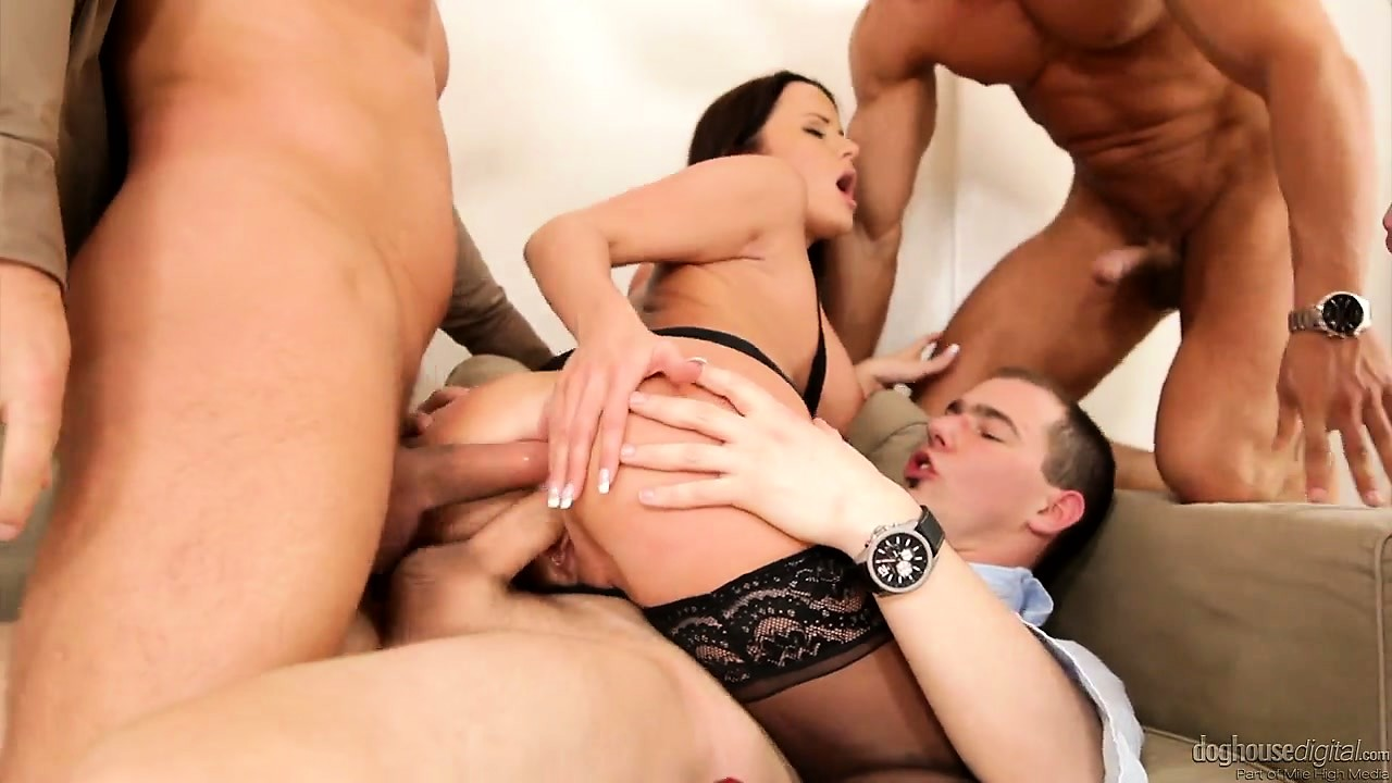 Porn Tube of Brunette Milf Is Slutty Stockings Has Her Holes Handed To Her On A Gangbang Platter