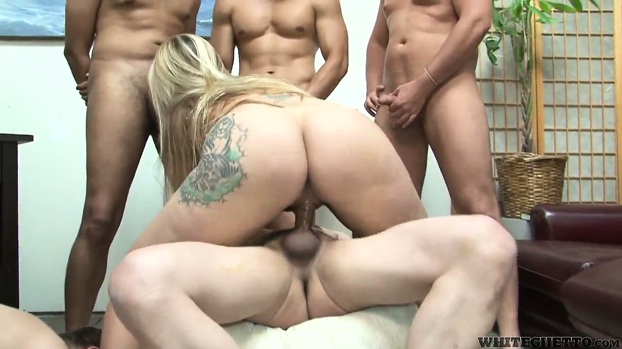 Porno Video of Tattooed Blondie Gets Drilled In Her Furry Muff In A Hardcore Cuckold Gangbang