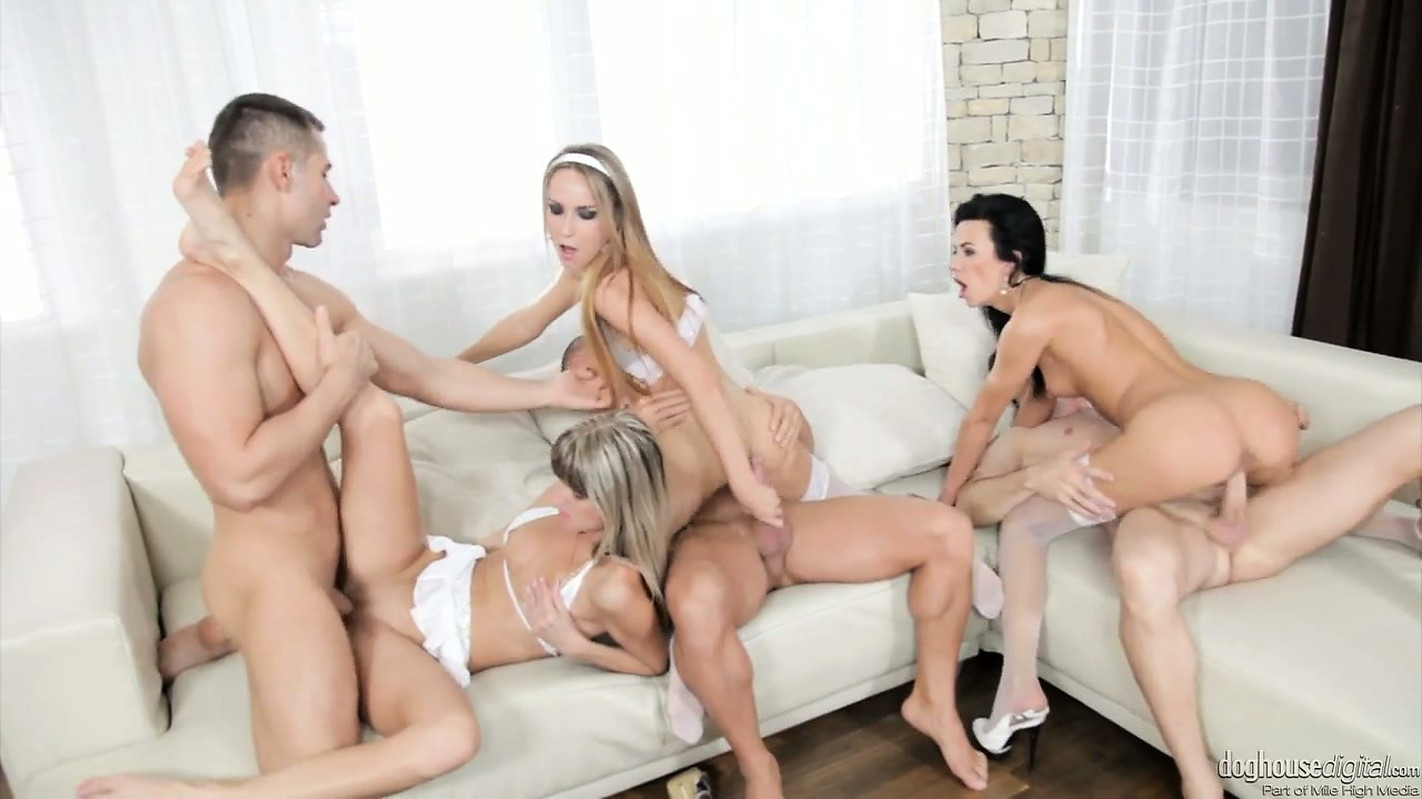 Porno Video of Stunning Beauties In All White Outfits Get Down With Swingers