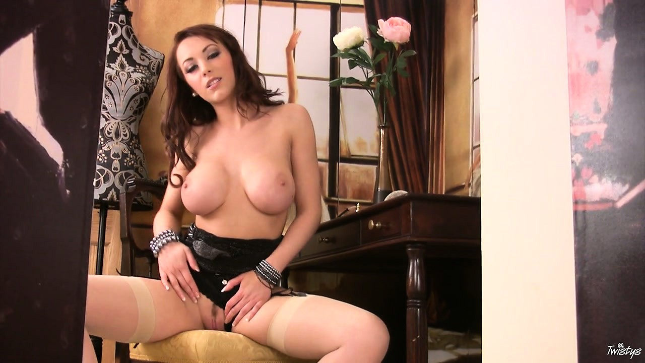 Porn Tube of Busty Brunette Strips And Lusts Her Own Pussy And Shows Fine Ass