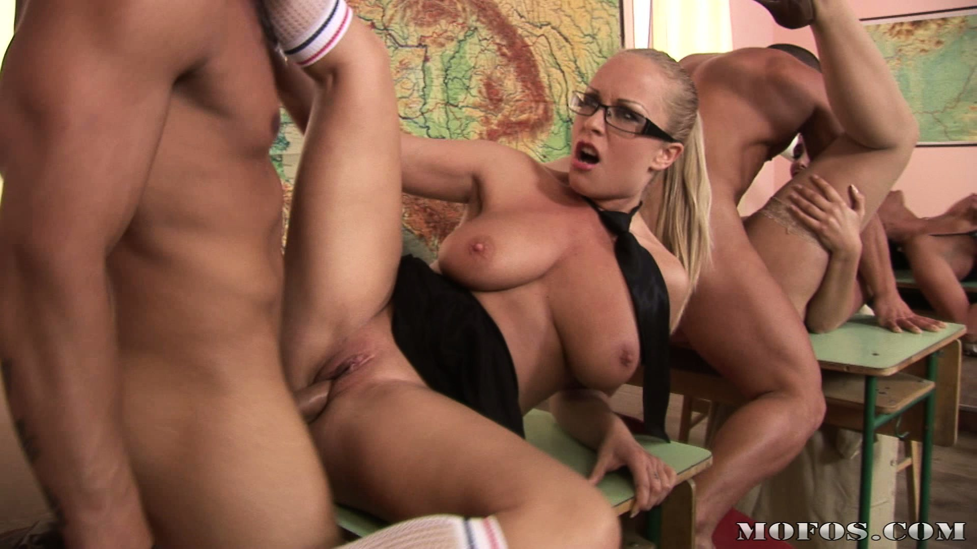 Porn Tube of Classroom Orgy With The Euro Teacher Getting Pounded Just As Hard