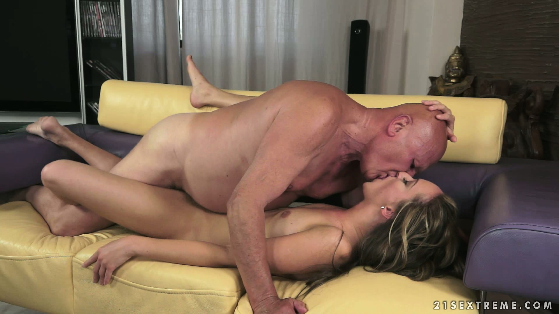 Porn Tube of Skinny Young Brunette Chick Gets Banged By Horny Old Grandpa